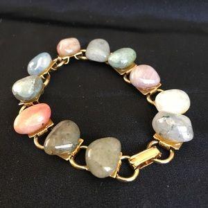 Vintage Polished Gemstones Link Bracelet Gold Tone